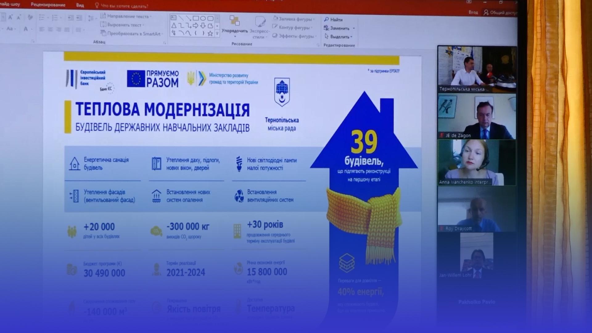 Покращення на 30 мільйонів євро: у Тернополі розпочнуть термомодернізацію закладів освіти